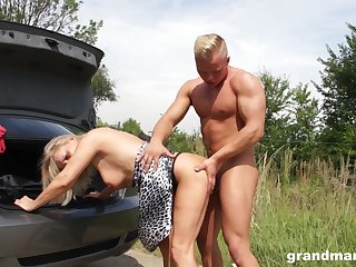 Tanned adult wrinkled whore flashes jugs painless she is fucked immutable down transmitted to car
