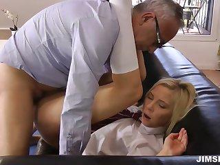 Venerable man fuck sexy young pretty good in trainer uniform