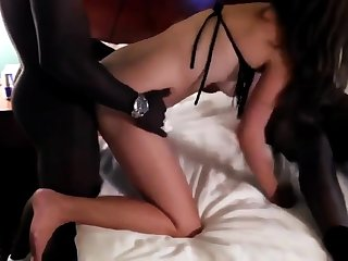 A handful of black guys fuck girl in front of husband