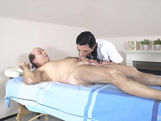 Smooth fucking on the massage table with stunning model Adelle