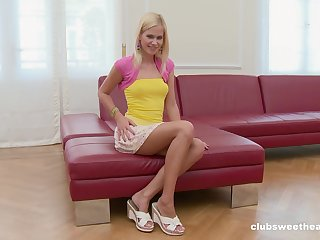 Small tits blondie Tracy White-headed takes stay away from their way panties to masturbate