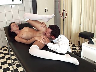 Doctor licks babe's pussy plus fucks her in merciless modes