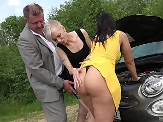 Mature shares huge inches with big ass babe