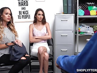 Supermarket security fucks sexy mature mommy and her adult stepdaughter