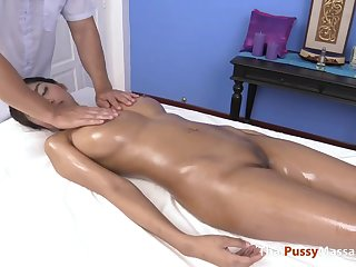 Young Thai babe in all directions huge tits massaged then fucked