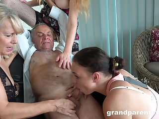 Old beggar takes his pill and fucks the slutty mature in crazy action
