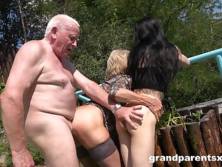 Old man rams mature become man and their niece in outdoor threesome