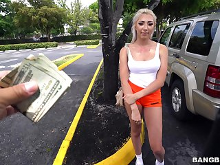 Blonde girl walks into the bang instructor repression being seduced with cash