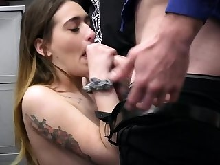 Stepdad plus officer fuck a busty devilish thief in a 3some