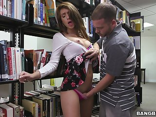 Quickie fucking hither the public bookwork with naughty Joseline Kelly
