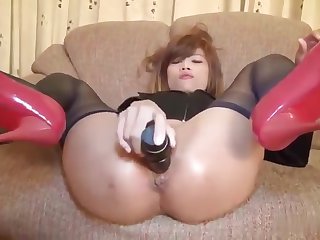 Japanese golden-haired young is acting in anus fuck porn
