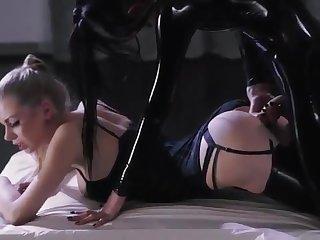 Twosome leather-clad lesbians strapon sex video
