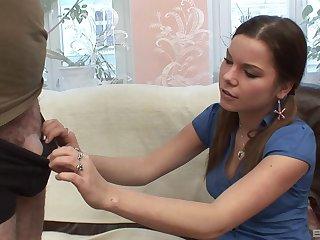 Russian model Petra Svobodova gives head and rides a pounding cock