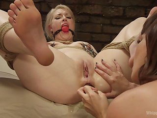 First time she gets gagged with an increment of ass fucked by a woman
