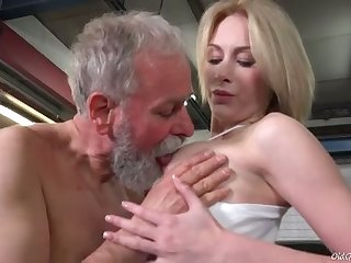 Bearded old man sucks juicy tits of fresh looking charming gal