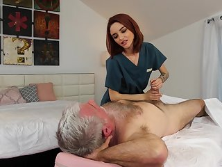 OAP = 'old-age pensioner' enjoys fucking red haired young masseuse Hanna Hayes