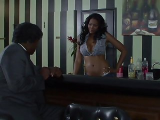 Sexy black pussy delights black leather
