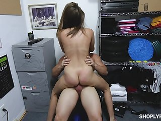 Teen prove false lifter gets the brush pussy enlarged by the store manager