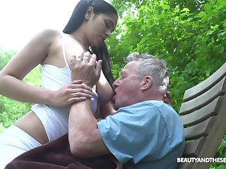 Busty sitter Ava Lowering bangs superannuated man and takes cumshots out of reach of her monumental boobs